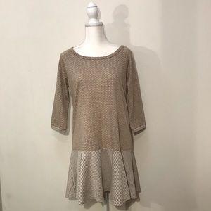 Easel Tunic Sweatshirt Dress Tan White Cream M